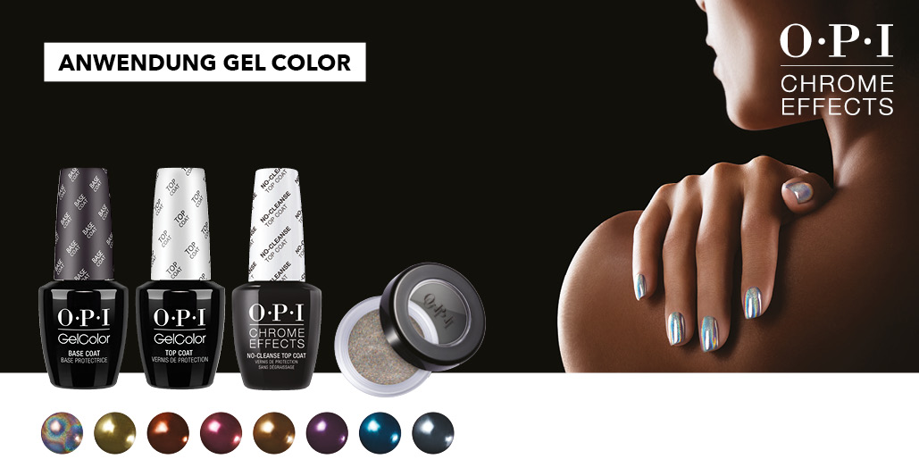 OPI Chrome Effects Powders Anwendung mit GelColor